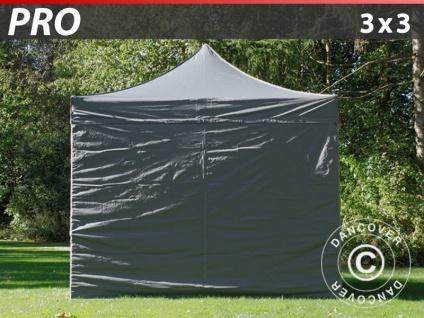 Faltzelt FleXtents PRO 3x3m Grau, mit 4 wänden