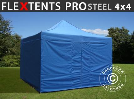 Faltzelt Faltpavillon Wasserdicht FleXtents PRO Steel 4x4m Blau, mit 4 Seitenwänden
