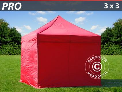 Faltzelt FleXtents PRO 3x3m Rot, mit 4 wänden