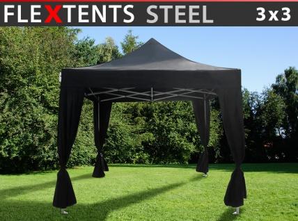 Faltzelt Faltpavillon Wasserdicht FleXtents Steel 3x3m Schwarz, mit 4 Gardinen