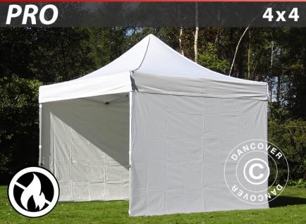 Faltzelt Faltpavillon Wasserdicht FleXtents PRO 4x4m Weiß, Flammenhemmend, mit 4 wänden