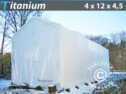 Lagerzelt Zeltgarage Garagenzelt Titanium 4x12x3, 5x4, 5m, Weiß
