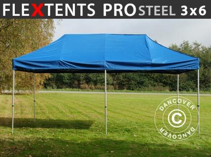 Faltzelt Faltpavillon Wasserdicht FleXtents PRO Steel 3x6m Blau