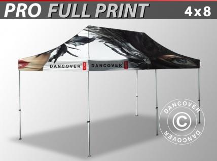 Faltzelt Faltpavillon Wasserdicht FleXtents PRO mit vollflächigem Digitaldruck, 4x8m