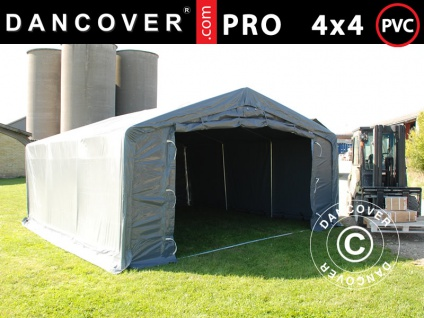 Lagerzelt Zeltgarage Garagenzelt PRO 4x4x2x3, 1m, PVC, Grau