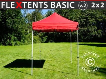 Faltzelt Faltpavillon Wasserdicht FleXtents Basic v.2, 2x2m Rot