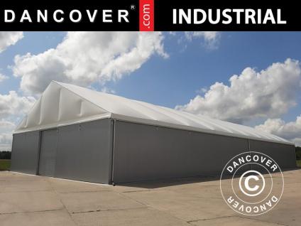 Industrielle Lagerhalle Steel 20x30x7, 64m mit Schiebetor, PVC/Metall, weiß/grau