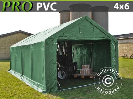 Lagerzelt Zeltgarage Garagenzelt PRO 4x6x2x3, 1m, PVC, Grün