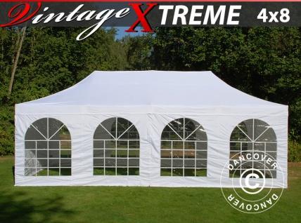 Faltzelt FleXtents Xtreme Vintage Style 4x8m Weiß, mit 6 wänden