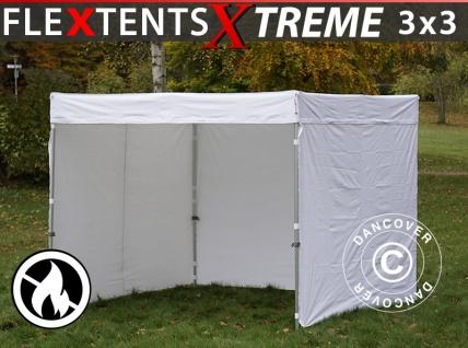 Faltzelt Faltpavillon Wasserdicht FleXtents® Xtreme Exhibition mit Seitenwänden, 3x3m, weiß, Flammfest