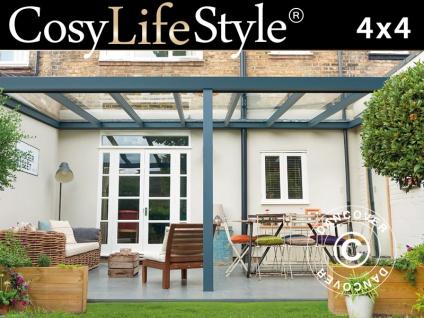 Terrassenüberdachung Legend aus Glas, 4x4m, Anthrazit