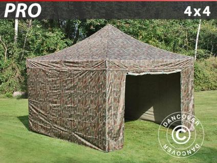 Faltzelt Faltpavillon Wasserdicht FleXtents PRO 4x4m Camouflage, mit 4 wänden