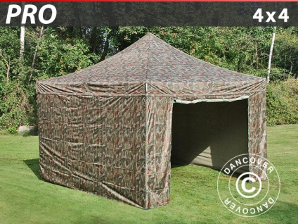 Faltzelt FleXtents PRO 4x4m Camouflage, mit 4 wänden