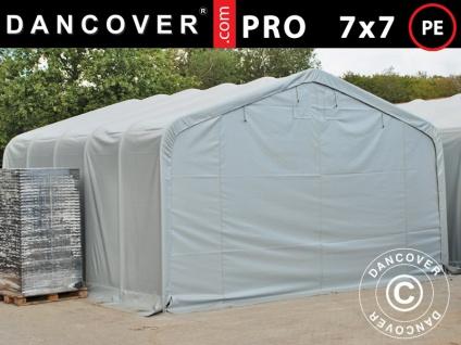 Lagerzelt Zeltgarage Garagenzelt PRO 7x7x3, 8m, PE, Grau