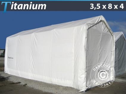 Lagerzelt Zeltgarage Garagenzelt Titanium 3, 5x8x3x4m, Weiß