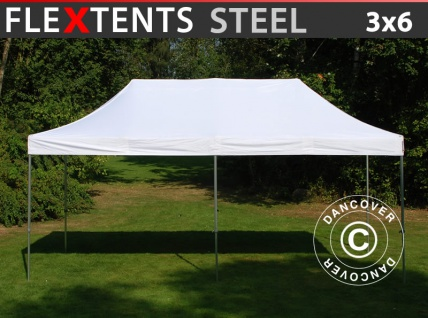 Faltzelt Faltpavillon Wasserdicht FleXtents Steel 3x6m Weiß