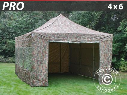 Faltzelt Faltpavillon Wasserdicht FleXtents PRO 4x6m Camouflage, mit 8 wänden