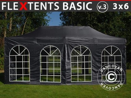 Faltzelt Faltpavillon Wasserdicht FleXtents Basic v.3, 3x6m Schwarz, mit 4 Seitenwänden
