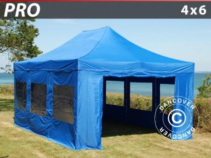 Faltzelt Faltpavillon Wasserdicht FleXtents PRO 4x6m Blau, mit 8 Seitenwänden