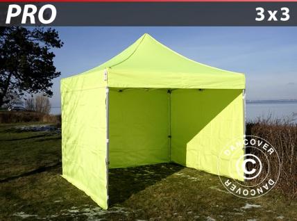 Faltzelt Faltpavillon Wasserdicht FleXtents PRO 3x3m Neongelb/grün, mit 4 Seitenwänden