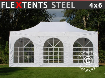 Faltzelt Faltpavillon Wasserdicht FleXtents Steel 4x6m Weiß, mit 4 Seitenwänden