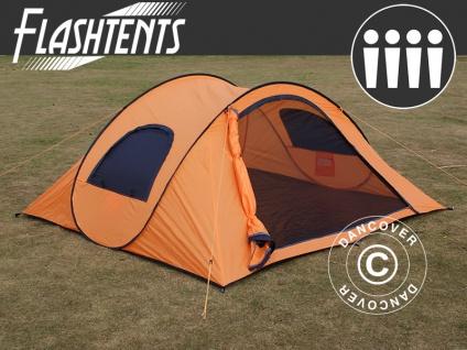 Pop-Up-Campingzelt, Flashtents®, 4 Personen, Medium PT-1, orange/dunkelgrau