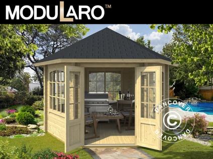 Holzpavillon Alicante, sechskantig 3, 5x3, 03x3, 07m, 44mm, Naturbelassen