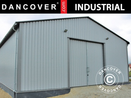 Industrielle Lagerhalle Steel 15x15x5, 32m mit Schiebetor, Metall, grau