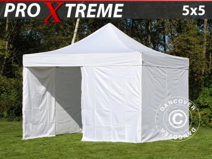 Faltzelt Faltpavillon Wasserdicht FleXtents Xtreme 5x5m Weiß, mit 4 Seitenwänden