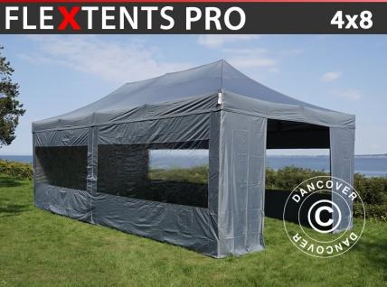 Faltzelt Faltpavillon Wasserdicht FleXtents PRO 4x8m Grau, mit 6 Seitenwänden
