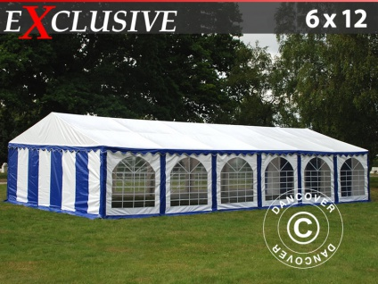 Partyzelt festzelt Exclusive 6x12m PVC, Blau/Weiß