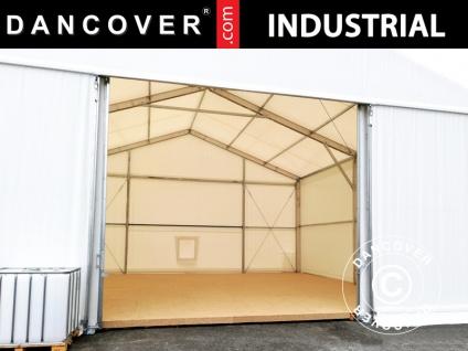 Schiebetor für industrielle Lagerhalle Steel, 4, 7x3, 5m, PVC, weiß