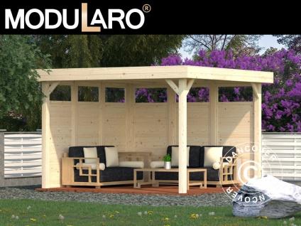 Holzpavillon mit 2 Seitenwänden, 3, 49x3, 49x2, 54m, 12, 2m², Natur