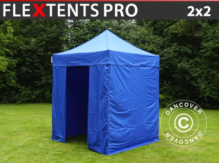 Faltzelt Faltpavillon Wasserdicht FleXtents PRO 2x2m Blau, mit 4 Seitenwänden