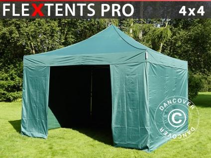 Faltzelt FleXtents PRO 4x4m Grün, mit 4 wänden