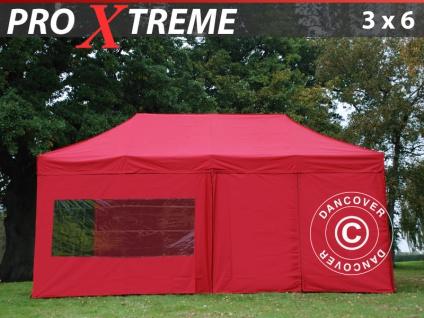 Faltzelt Faltpavillon Wasserdicht FleXtents Xtreme 3x6m Rot, mit 6 wänden