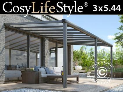 Terrassenüberdachung Compact aus Polycarbonat, 3x5, 44m, Anthrazit