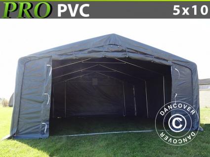 Lagerzelt Zeltgarage Garagenzelt PRO 5x10x2x2, 9m, PVC, Grau