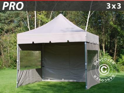 Faltzelt Faltpavillon Wasserdicht FleXtents PRO Peaked 3x3m Latte, mit 4 wänden