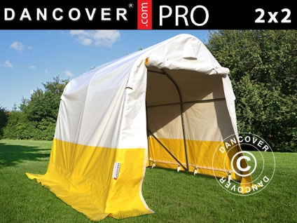 Lager- und Arbeitszelt PRO 2x2x2m, PVC, weiß/gelb, flammfest