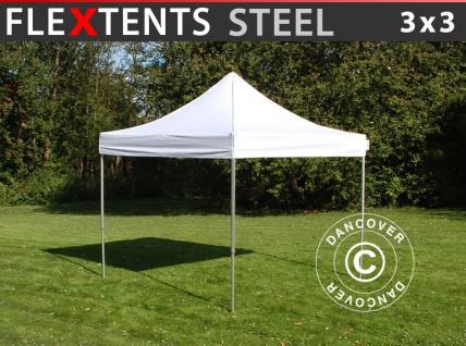 Faltzelt Faltpavillon Wasserdicht FleXtents Steel 3x3m Weiß