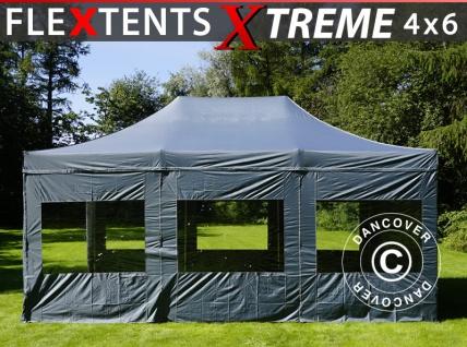 Faltzelt Faltpavillon Wasserdicht FleXtents Xtreme 4x6m Grau, mit 8 Seitenwänden