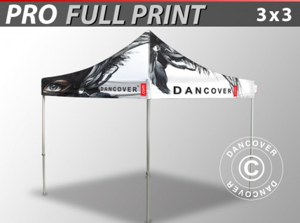 Faltzelt Faltpavillon Wasserdicht FleXtents PRO mit vollflächigem Digitaldruck, 3x3m