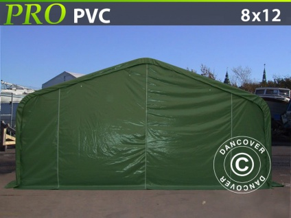 Lagerzelt Zeltgarage Garagenzelt PRO 8x12x5, 2m PVC mit Dachfenster, Grün