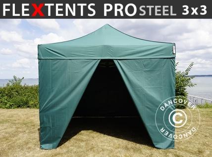 Faltzelt Faltpavillon Wasserdicht FleXtents PRO Steel 3x3m Grün, mit 4 Seitenwänden