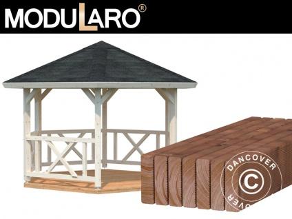 Holzpavillon mit Holzboden, 3, 37x3, 37x3, 13m, 9, 9m², Natur