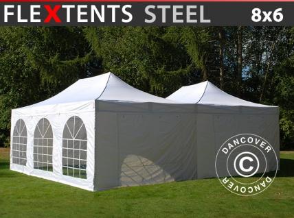 Faltzelt Faltpavillon Wasserdicht FleXtents Steel 8x6m Weiß, inkl. 8 Seitenwände