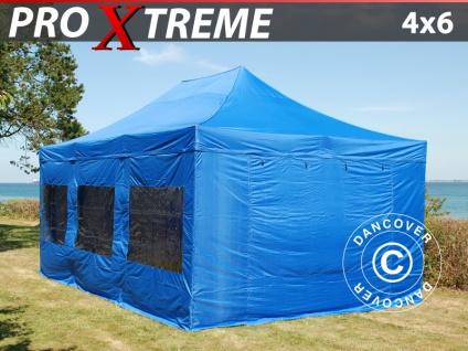 Faltzelt Faltpavillon Wasserdicht FleXtents Xtreme 4x6m Blau, mit 8 Seitenwänden