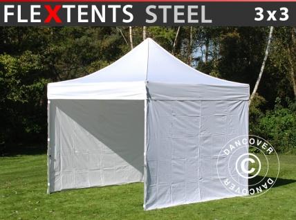 Faltzelt Faltpavillon Wasserdicht FleXtents Steel 3x3m Weiß, mit 4 Seitenwänden