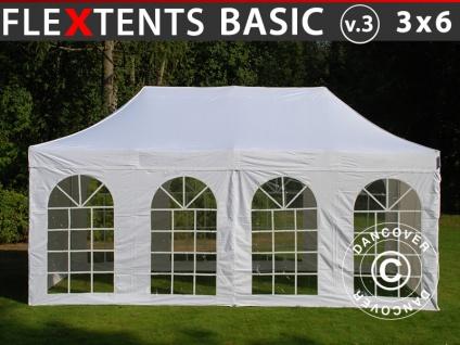 Faltzelt Faltpavillon Wasserdicht FleXtents Basic v.3, 3x6m Weiß, mit 4 Seitenwänden